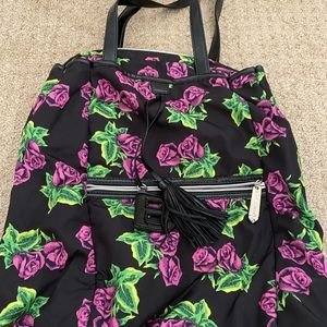 Betsey Johnson Tin Can Rose backpack/bag purple